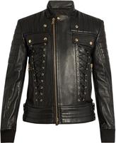 Balmain Lace-panel leather jacket