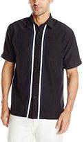 Cubavera Men's Short Sleeve Tri Color Panel with Pickstich Woven Shirt