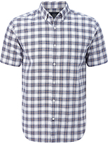 John Lewis Ombre Check Short Sleeve Oxford Shirt
