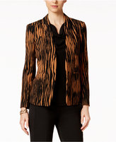 Kasper Printed Clasp-Front Jacket