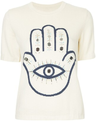 Onefifteen Hamsa embellished knitted top