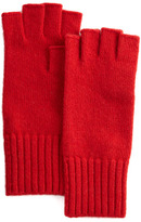 Portolano Fingerless Wool-Cashmere Gloves, Red