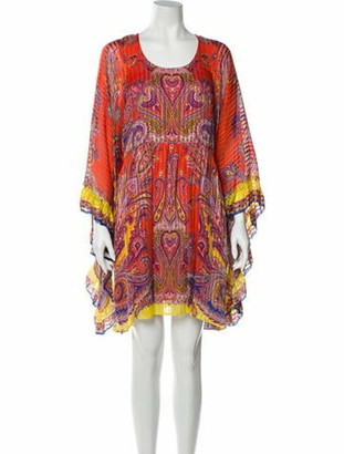 Etro Silk Mini Dress Orange