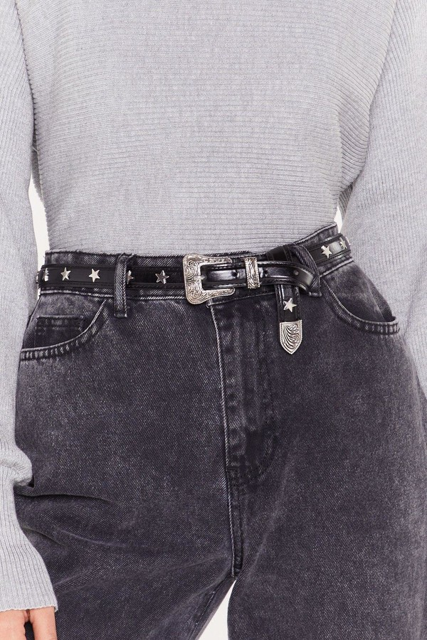 Nasty Gal Womens Faux Leather Western Star Studded Belt - Black - One Size