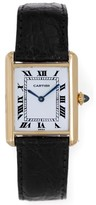 Cartier Tank 18K Yellow Gold & Leather White Dial Manual 23mm Womens Watch