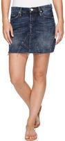 Blank NYC Denim Mini Skirt Frayed Bottom in Side Hustle