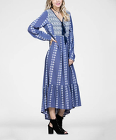 Jane Indigo Geometric Long-Sleeve Maxi Dress