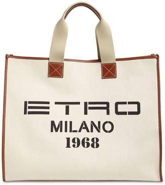 Etro Cotton Canvas & Leather Tote Bag