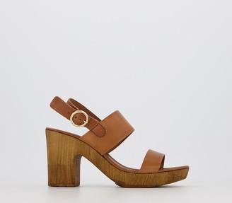 Office Mae Block Heel Sandals Tan Leather