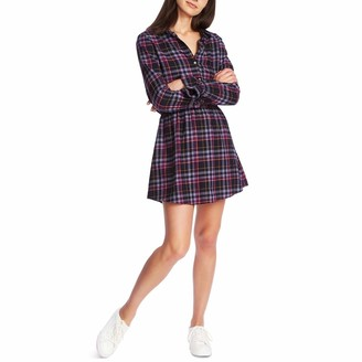 1 STATE Womens Blue Ruffled Plaid Long Sleeve Collared Short Shirt Dress Dress Size: L