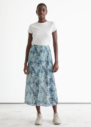 And other stories Buttoned Floaty Midi Skirt