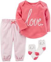 Carter's 3-Pc. Love T-Shirt, Pants & Cat Socks Set, Baby Girls (0-24 months)
