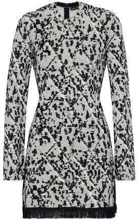 Proenza Schouler Fringe-Trimmed Jacquard-Knit Mini Dress