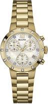 Bulova Women's Chronograph Diamond Accent Gold-Tone Stainless Steel Bracelet Watch 30mm 98R216