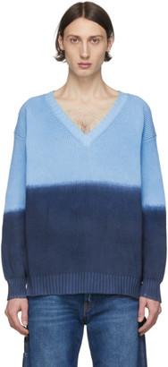 MSGM Blue V-Neck Sweater