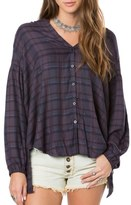 O'Neill Marilyn Plaid High/Low Blouse