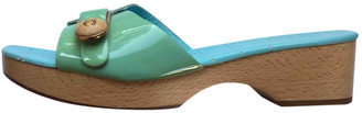 Chanel Turquoise Leather Mules & Clogs