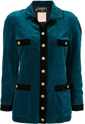 Chanel Pre Owned Velvet Effect Slim-Fit Jacket
