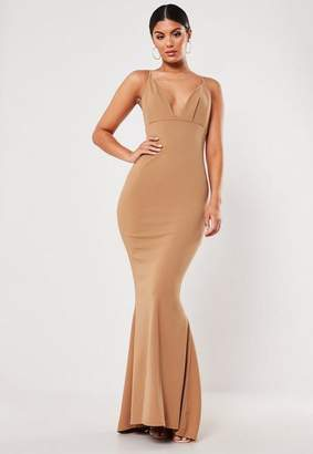 Missguided Camel Pleated Bust Fishtail Maxi Dress