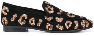 Lola Cruz leopard glitter loafers