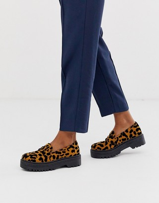Qupid chunky loafers in leopard