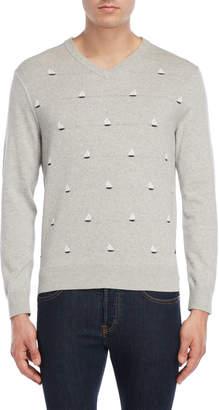 Nautica Long Sleeve V-Neck Sailboats Sweater