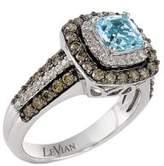 LeVian Le Vian Sea Blue Aquamarine, Vanilla Diamonds, Chocolate Diamonds & 14K Vanilla Gold Ring