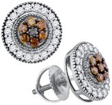 Saris and Things 10kt White Gold Womens Round Cognac- Colored Diamond Cluster Stud Screwback Earrings 5/8 Cttw