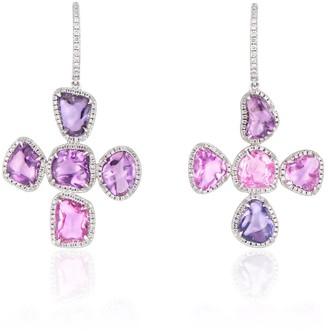 Ri Noor Purple Pink Sapphire & Diamond Cross Earrings