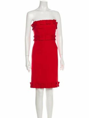 Valentino Fleece Wool Strapless Dress Red