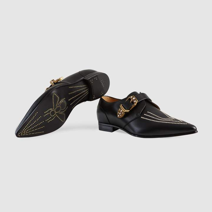 Gucci Leather crystal monk shoe