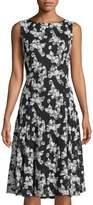 Neiman Marcus Butterfly-Lace Sleeveless Dress