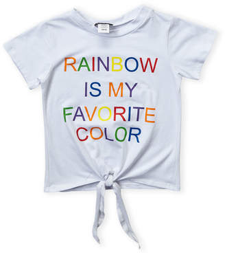 Miss Popular (Girls 7-16) Rainbow Tie Front Short Sleeve Tee