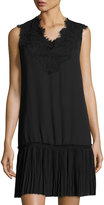 Max Studio Pleated-Hem Sleeveless Lace Dress, Black