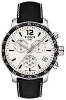 Tissot T0954171603700 Quickster Chronograph Date Leather Strap Watch, Black/white