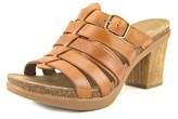 Dansko Dina Full Grain Women Open Toe Leather Brown Slides Sandal.