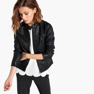 Jacqueline De Yong Faux Leather Bomber Jacket with Zip