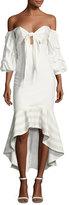 Alexis Zuki High-Low Off-the-Shoulder Dress, White