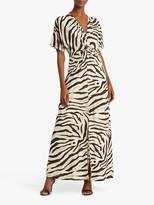 Ralph Lauren Ralph Niklos Short Sleeve Zebra Print Maxi Dress, Dark Brown/Multi