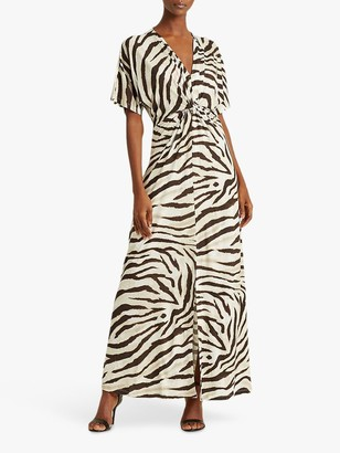Ralph Lauren Ralph Niklos Short Sleeve Zebra Print Maxi Dress, Dark Brown/Multi