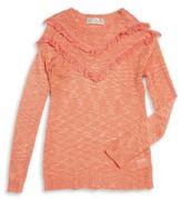 Pink Rose Girls Long Sleeve Fringed Sweater