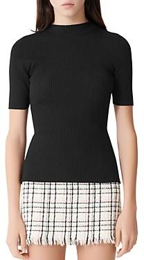 Maje Manu Back-Cut-Out Ribbed Sweater