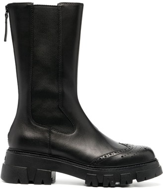Ash Brogue Detail Mid-Calf Boots