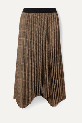 By Malene Birger Balsash Wrap-effect Pleated Checked Woven Midi Skirt - Tan