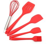 Aspire Red Silicone Baking Tools - Balloon Whisk, Pastry brush, Spatula & Scrapers, Set of 5
