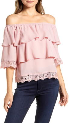 Gibson x Glam The Mom in Style Tiered Off the Shoulder Lace Detail Top