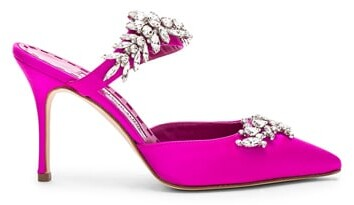 Thumbnail for your product : Manolo Blahnik Satin Lurum 90 Heels in Pink