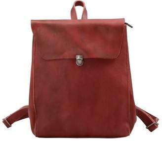 Touri Handmade Genuine Leather Slim Backpack In Wine