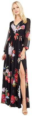 Adrianna Papell Long Sleeve Chiffon Shirred Gown (Black Multi) Women's Dress
