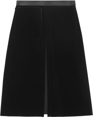 Burberry lambskin trim box pleat detail velvet wool skirt